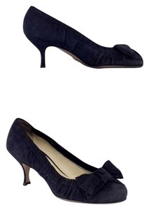 Prada Navy Suede Ruched Bow Heels Pumps