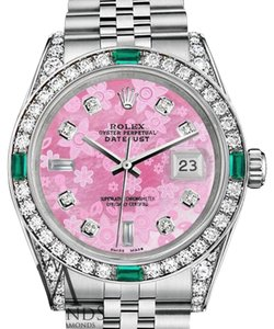 Rolex Ladies Rolex Datejust 26mm Steel Pink Flower Color MOP Emerald Diamond