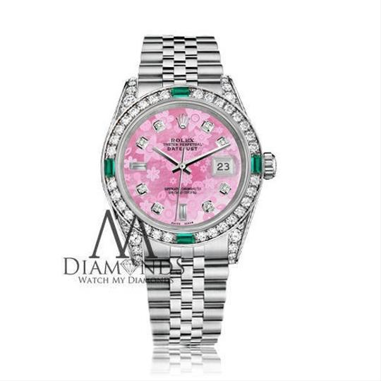 Rolex Ladies Rolex Datejust 26mm Steel Pink Flower Color MOP Emerald Diamond Image 1