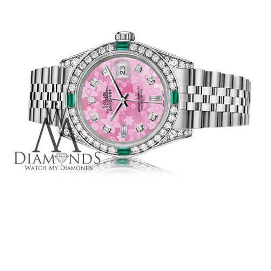 Rolex Ladies Rolex Datejust 26mm Steel Pink Flower Color MOP Emerald Diamond Image 2