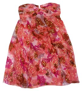 Nicole Miller short dress Pink Abstract Print Strapless on Tradesy