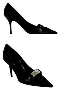 Dior Black Canvas Monogram Pumps