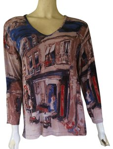 Chico's Slinky 3/4 Sleeves Travel Knit V-neck T Shirt Multi-colored