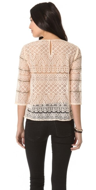 Madewell Metallic Embellished Lace Sheer Lace Top beige