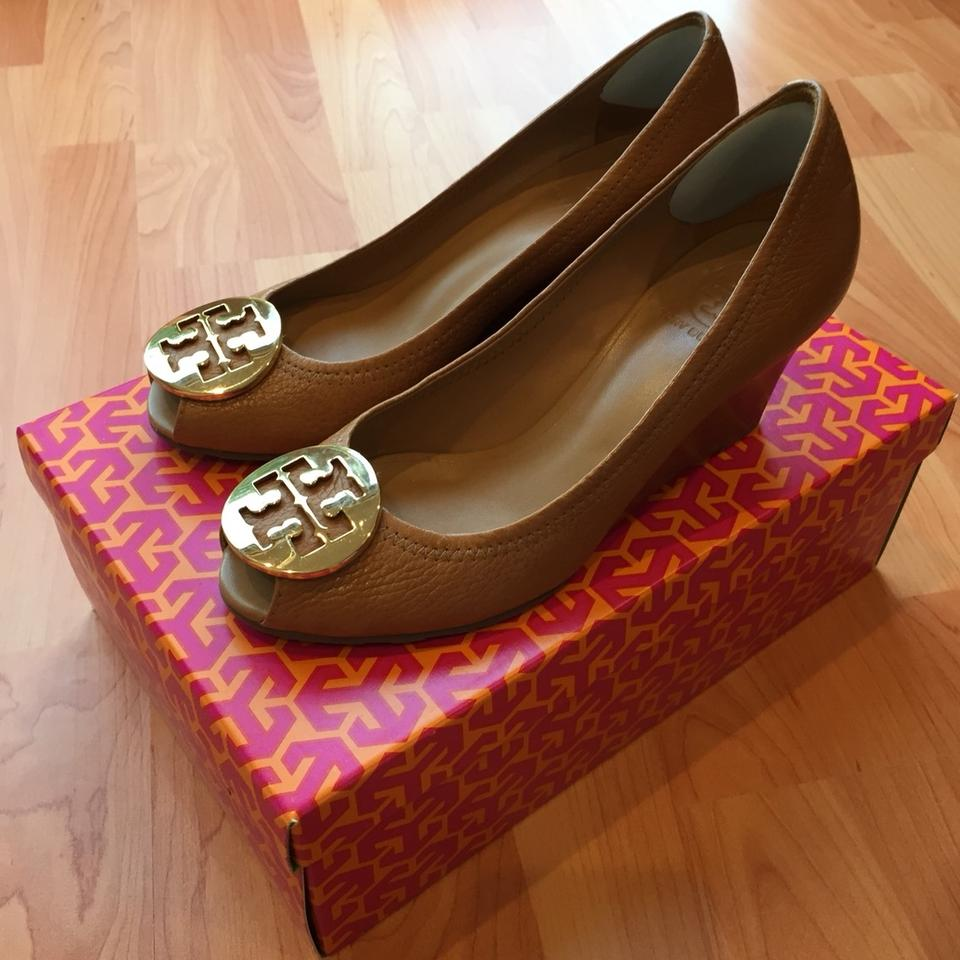 38bffd634e1c5 Tory Burch Royal Tan  Gold  sally 2  Peep Toe Pump Wedges. Size  US 7 ...