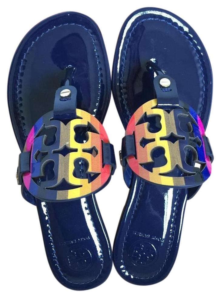 098e560521e2 Tory Burch Royal Navy Miller Rainbow Logo 9.5m Sandals Size US 9.5 ...