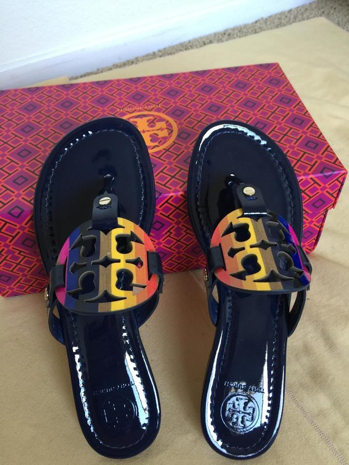 37cb6b8a0caa Tory Burch Royal Navy Miller Rainbow Logo 9.5m Sandals Size US 9.5 Regular  (M