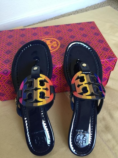 c07ac7c6f169a tory burch royal navy miller rainbow logo 10m sandals size us 10 ...