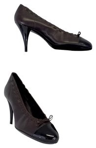Chanel Brown Leather Cap Toe Bow Pumps