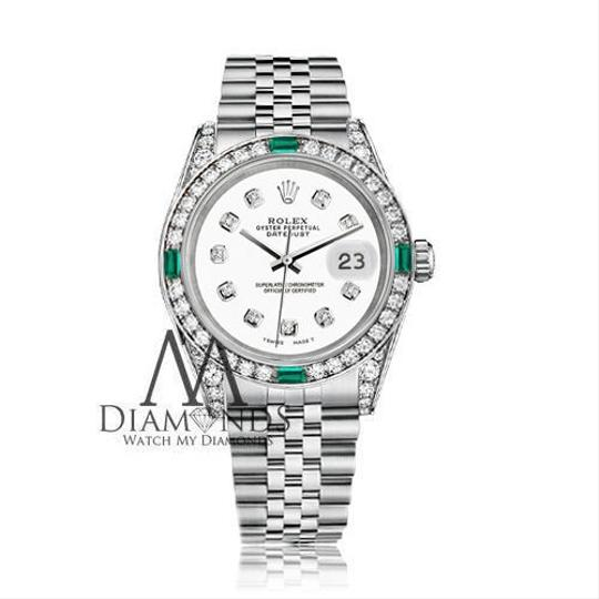 Rolex Ladies Rolex Datejust 26mm Stainless Steel White Color Diamond Emerald Image 1