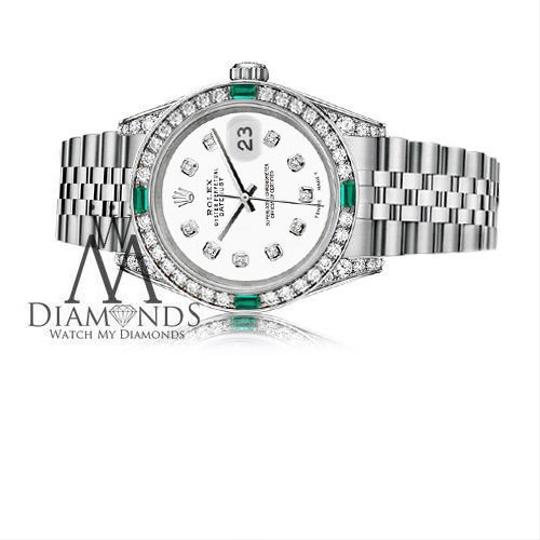 Rolex Ladies Rolex Datejust 26mm Stainless Steel White Color Diamond Emerald Image 2