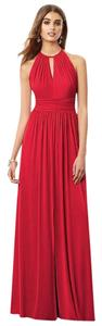 Dessy Red Long Halter Dress