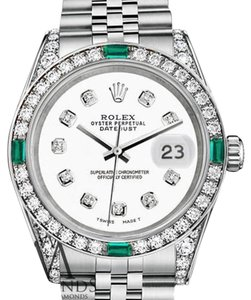 Rolex Women's Rolex 31mm Stainless Steel White Color Diamond Emerald