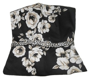White House | Black Market Floral Bustier Leopard Whbm Top Black, Beige, White