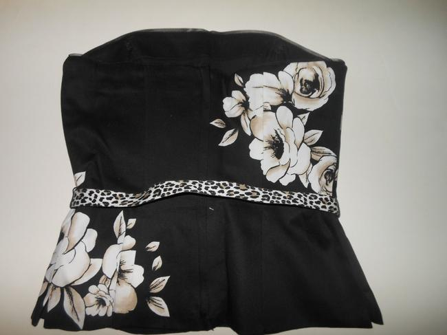 White House | Black Market Floral Bustier Leopard Whbm Size 0 Top Black, Beige, White Image 1