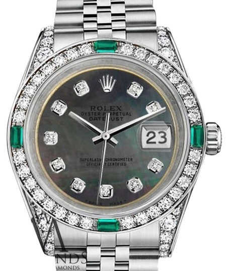 Preload https://img-static.tradesy.com/item/16516108/rolex-ladies-datejust-26mm-steel-black-mop-color-emerald-diamond-dial-watch-0-1-540-540.jpg