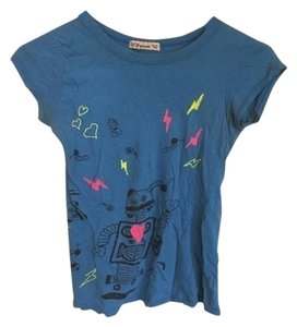 Forever 21 Robot Graphic T Shirt Blue