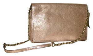 ABACO Made In France Lambskin Chain Baguette ROSE GOLD METALLIC Messenger Bag