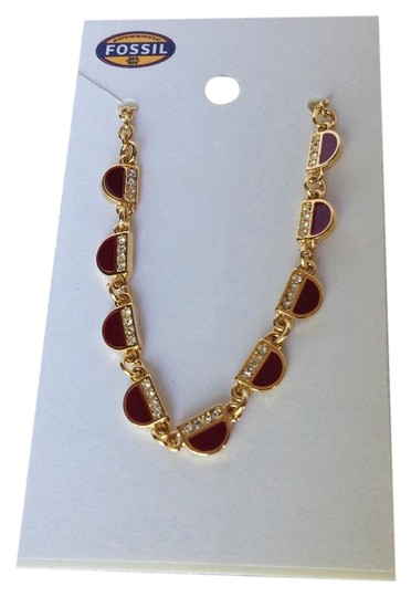 Preload https://img-static.tradesy.com/item/16516408/fossil-vintage-motifs-half-moon-stainless-steel-ruby-red-crystal-glitz-necklace-0-1-540-540.jpg