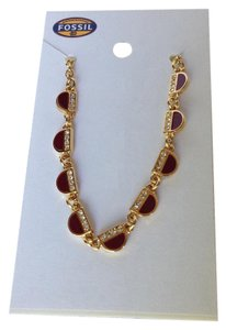 Fossil Fossil Vintage Motifs Half Moon Stainless Steel Ruby Red Crystal Glitz Necklace
