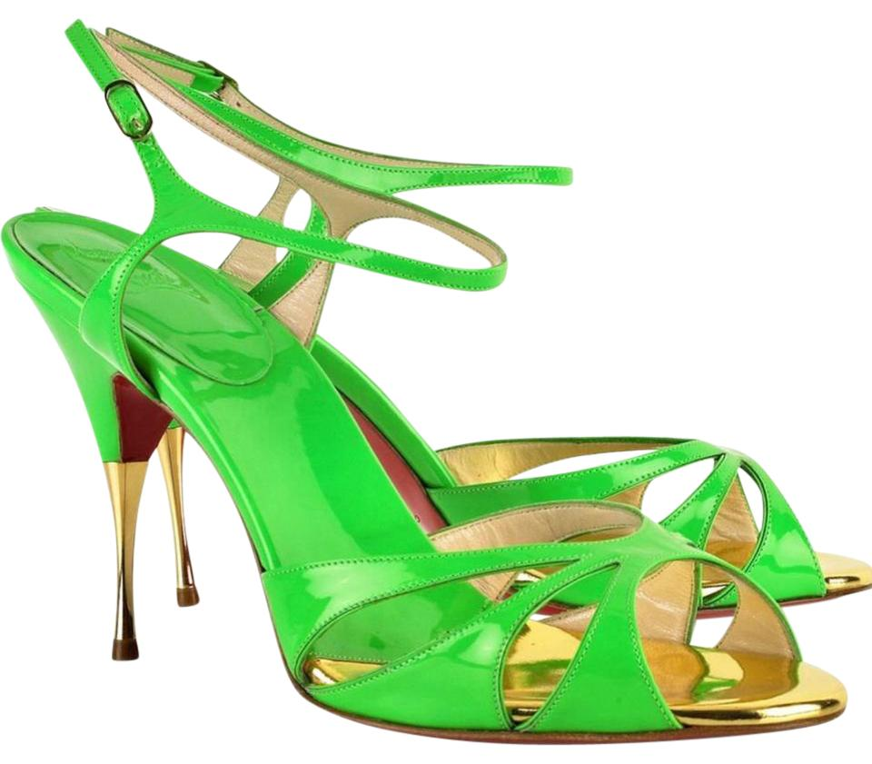 Christian Louboutin Lime 100 Green Noeudette Gisa 100 Lime Patent Sandals 07c826
