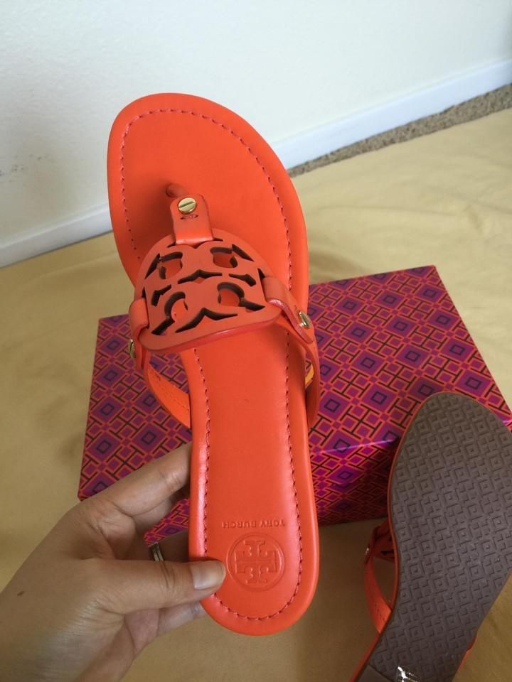 6f3db3d157b Tory Burch Poppy Red Miller Flat 7.5m Sandals Size US 7.5 Regular (M ...