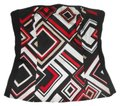 White House | Black Market Bustier Whbm Size 2 Geometric Print Top Black, Red, White