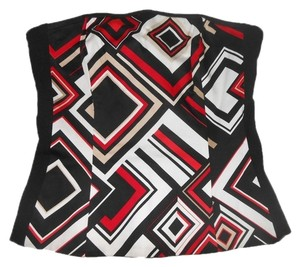 White House | Black Market Print Bustier Whbm Size 2 Top Red, Black, White