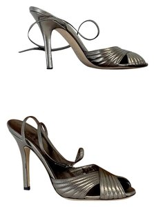 Gucci Metallic Grey Leather Heels Sandals