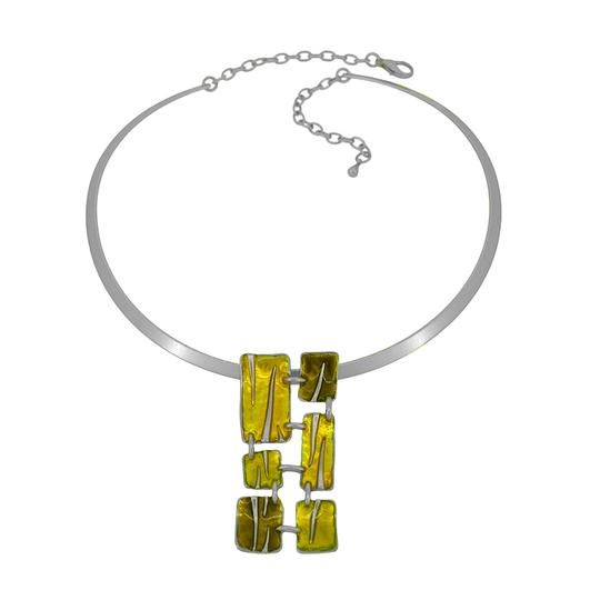 Other Abstract Enamel Pendant Pewter Necklace Image 2