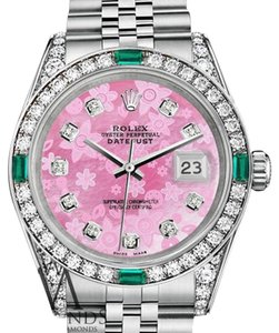 Rolex Women's Rolex Datejust 31mm Stainless Pink Flower MOP Diamond Emerald