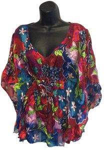 Mary L Couture Silk Floral Flowy Top Multi Floral