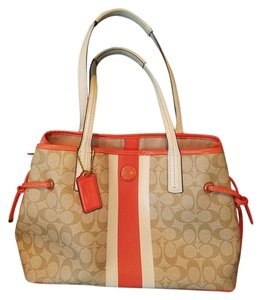 Coach Tote in Tan with orange