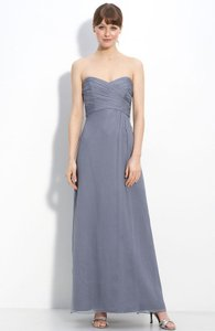 Amsale Slate Silk Long Chiffon Formal Bridesmaid/Mob Dress Size 0 (XS)