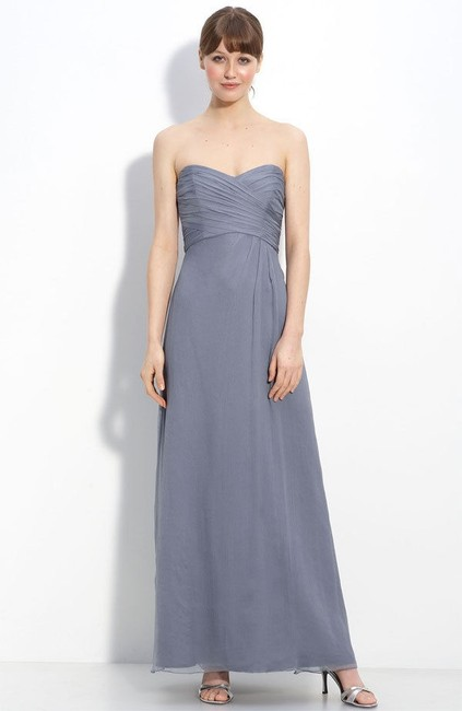 Item - Slate Silk Long Chiffon Formal Bridesmaid/Mob Dress Size 0 (XS)