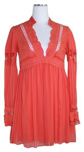 Free People Crochet Bohemian Flowy V-neck Dress