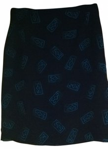 Componix Ethnic Office Classic Skirt black w blue