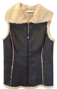 Dana Buchman Fur-lined Faux Leather Princess Seams Vest