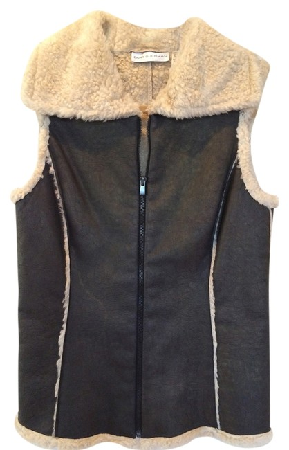 Dana Buchman Fur-lined Faux Leather Princess Seams Vest Image 0