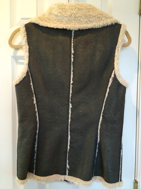Dana Buchman Fur-lined Faux Leather Princess Seams Vest Image 1