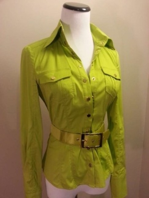 bebe Button Down Shirt Lime Green