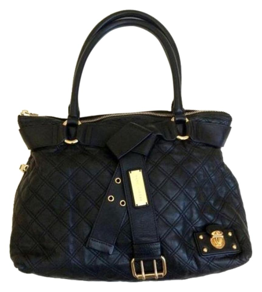 Marc Jacobs Alina Quilted Belt Tote Black Leather Shoulder Bag ... : marc jacobs quilted bags - Adamdwight.com