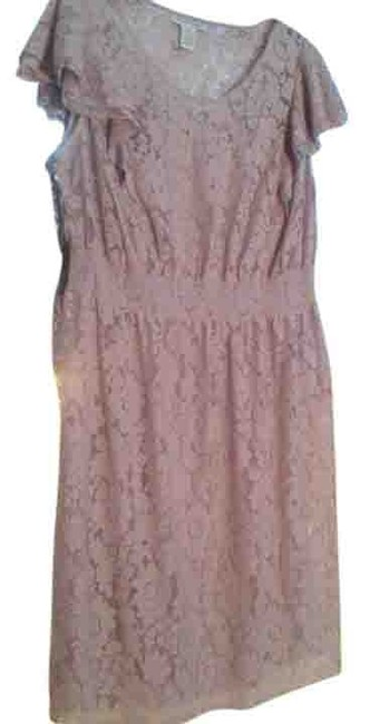 Item - Dusty Rose Lacey Mid-length Short Casual Dress Size 18 (XL, Plus 0x)