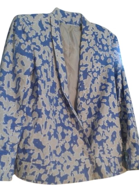 Item - Blue White Cropped Sillouette Jacket Size 12 (L)