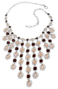 Sterling Silver Plated-Pewter Cascading Enamel Bib Necklace