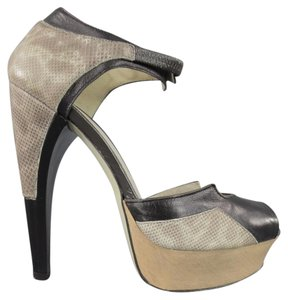 Jason Wu Curved Heel Exotic Runway Strap Two Tone Taupe Platforms