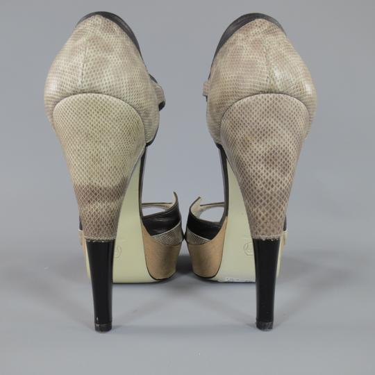 Jason Wu Curved Heel Exotic Runway Strap Two Tone Taupe Platforms Image 4