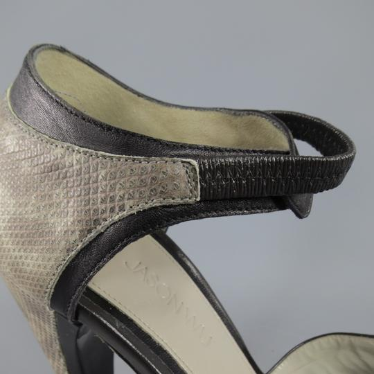 Jason Wu Curved Heel Exotic Runway Strap Two Tone Taupe Platforms Image 9