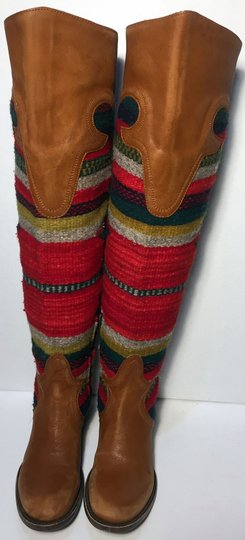 FREEBIRD by Steven Caballero Aztec Wool Cowgirl Size 6 Brown Boots Image 1