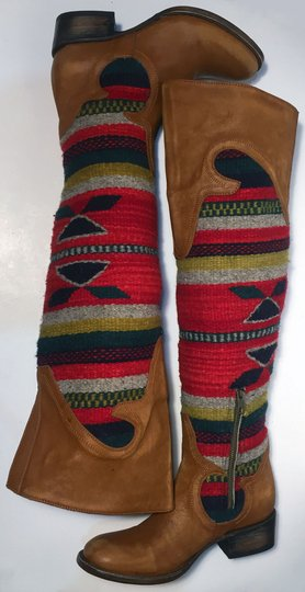FREEBIRD by Steven Caballero Aztec Wool Cowgirl Size 6 Brown Boots Image 4